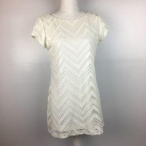 White House Black Market Sequined Ivory Dress